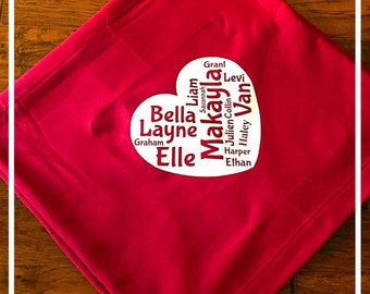 Monogram Custom Family Names Jersey stadium blanket Throw 50x60 Mothers Day Christmas gift Grandmother Mother Mom