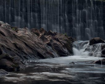 Waterfall and sculpted rock at Florence, Northampton, Western Massachusetts