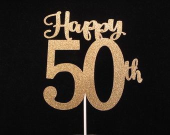 Happy 50th Birthday Cake Topper, Happy 50th Anniversary Cake Topper, 50th Birthday, Gold Glitter 50, 50th Birthday Cake Topper