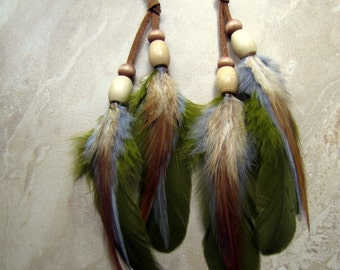 Feather Earrings - Brown, Olive Green and Gray Beaded Feather Earrings