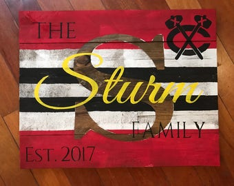 Chicago blackhawks, Custom Wood Name Sign, Pallet Last Name Sign, Rustic Family Est. Sign, Distressed Name Sign, Personalized Wedding Gift