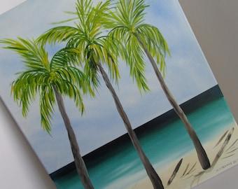 Tropical Art Tropical Beach Painting Original Painting 16 x 20  Acrylic Painting Beach Decor Cottage Decor