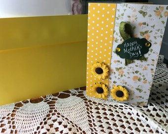 MOTHERS DAY CARD, Mom, Grandmother, yellows, greens, flowers,