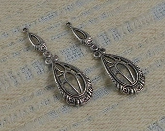 LuxeOrnaments Antique Silver Filigree Drop-Pendant (Qty 2) 38x11mm G-7193-D-S