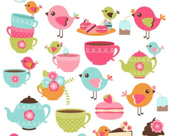 Bird Tea Party Clipart Set - clip art set of birds, teacups, garden party, tea, cake - personal use, small commercial use, instant download