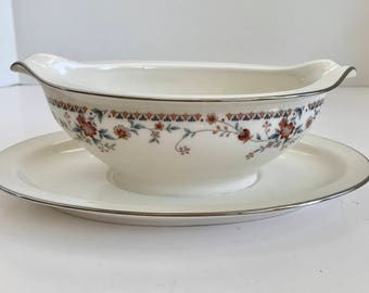 Noritake Ivory china, Adagio 7237, Floral Gravy Boat with Attached Plate