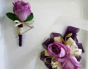 Wrist Corsage Set Shades of  Purple and Gold Corsage with Matching Boutonniere In Clear Corsage Box Ready to Ship
