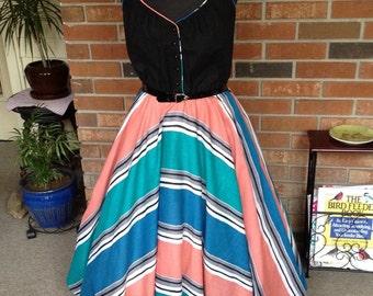 Vintage 1970's Coco of California Summer Dress, full skirt, pockets