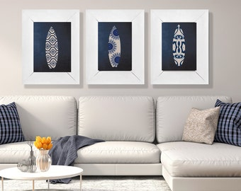 Set of 3 Indigo Surfboard Prints  8x10 , 11x14 or 13X19 Coastal Boho