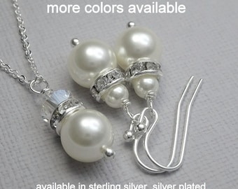 Maid of Honor Gift Jewelry, Pearl Jewelry Set, Pearl Jewelry, Wedding Jewelry Set, Swarovski Jewelry, Bridal Shower Gift, Bridesmaid Gift