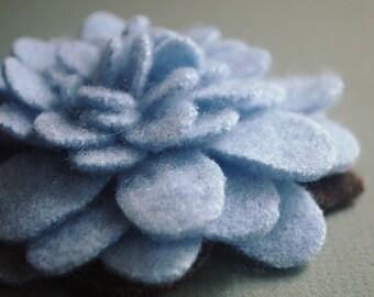 Pale Blue Cashmere Felt Flower Pin