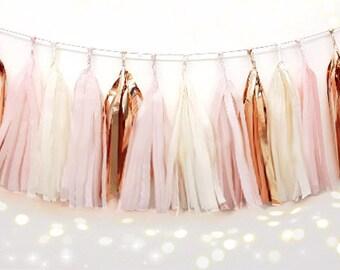 Tissue Tassel Garland  fully assembled -Champagne -pink-Blush-rose gold- Paper Modern Room Wedding Shower Tassel Decor Balloon Tails birthuo