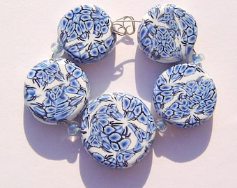 Blue China Artisan Polymer Clay Bead Set with Focal and 4 Beads
