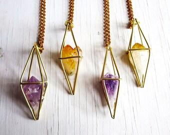 Amethyst Necklace, Geometric Necklace, Caged Crystal, Handmade Original, Rough Amethyst Crystal, Pendulum Necklace, Amethyst Pendant