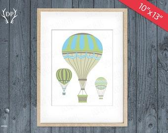 "Hot Air Balloons printable nursery wall art decor baby boy 10""x13"" instant download"