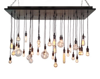 Industrial Chandelier - Rustic Lighting, Modern Chandelier, Edison Bulbs, Dining Room Lighting, Urban Chandelier, Wood Chandelier
