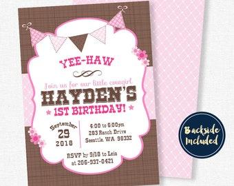 Cowgirl Birthday Invitation, Western Invitation, Cowgirl Party Invitation, Pink and Brown Cowgirl Invitation