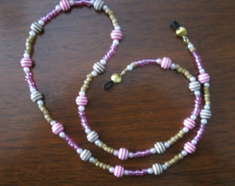 Pink And Tan Beaded Eyeglass Holder / Eyeglass Chain