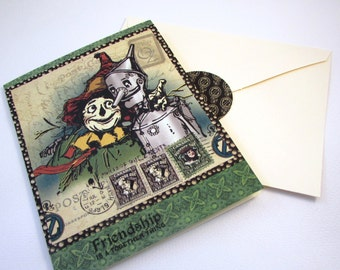 Greeting Card Vintage Wizard of Oz Scarecrow and Tin Man with Envelope Seal QueenBeeInspirations