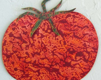 Metal Wall Sculpture Tomato Art Kitchen Wall Decor Indoor Outdoor Recycled Metal Wall Handing Red Heirloom Tomato 8 x 8
