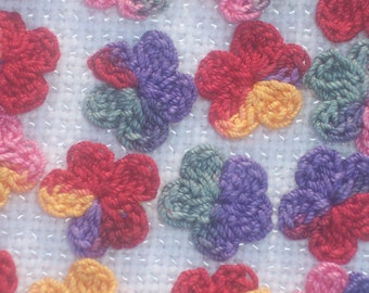 20 handmade variegated thread crochet applique flowers  -- 1750