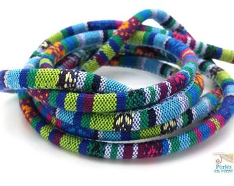 BLUE turquoise: 1 m cord woven style ethnic diameter 6mm (fil112)