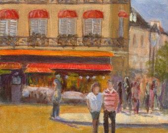 Summertime Paris - Original French Cafe Bistro Romantic Painting 8x8 Couple Lovers
