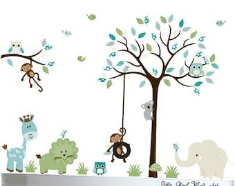 Children's nursery wall art decals jungle walldesign