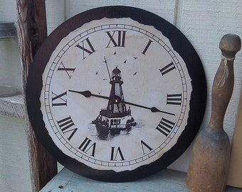 "Vintage Style Clock with Lighthouse and Seagulls, 12"" x 12"""