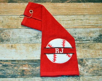 Baseball or Softball Sports Towel with Hook - Personalized with Player's Name - Available in Red, Royal Blue, Black or White