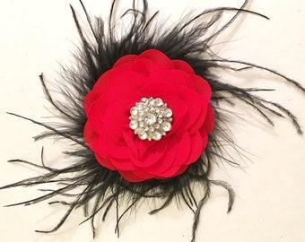Red Chiffon Hair Clip, Black Feather Hair Clip, Bridal Hair Clip,  Dance Costume Hair Piece, Portrait Photo, Pageant Hair Piece