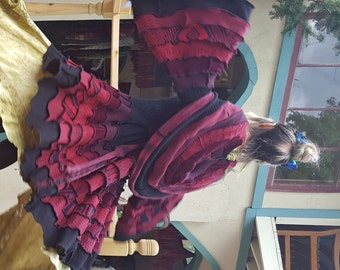 SPECIAL Order Only!! Upcycled Sweater: LITTLE RED Victorian Bustle Coat (Black&Burgandy)