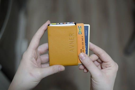 Women leather wallet, 2x Wallets - Leather Wallet + Denim Wallet Minimalist Wallets, Womens Wallet, Full RFID Wallet protection