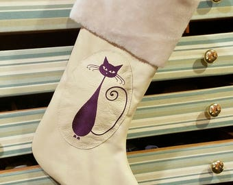 Leather Embroidered Christmas Stocking
