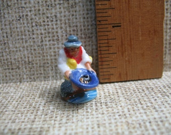 Gold Miner 49er Panning for Gold Old WILD WEST Hand Painted Porcelain  - French Feve Feves Figurines Miniatures Z38