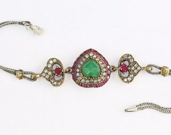 Turkish 925K Sterling Silver & Bronze Fantastic Heart Shape And Emerald Bracelet, Costuming Fashion Jewelry
