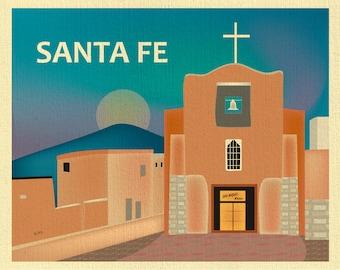 Santa Fe Art Print, Santa Fe New Mexico Poster, San Miguel Mission, Southwest, Santa Fe Chapel Art, New Mexico art - style E8-O-SANTA-FE