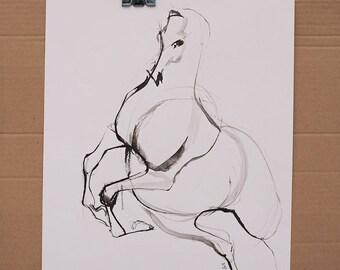 ORIGINAL Art Ink Gestural Horse Sketch