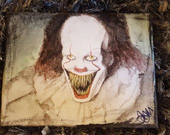 Pennywise the Clown IT Painting // FREE Shipping in USA