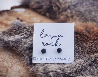 Lava Rock Earrings/ Aromatherapy Earrings/ Stud Earrings/ Essential Oil Diffuser Earrings