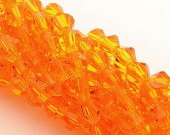 110 faceted crystal glass bicone ORANGE 4mm PFO2016a4O