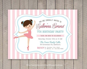 Ballerina Birthday Invitation / Ballerina invitation / Ballet Invitation / Ballerina Party / Ballerina Printable DIY