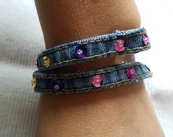 Recycled denim bracelet