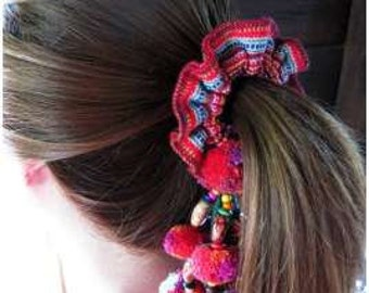 Colorful Thai Hmong Ponytail Holder with Pom Poms