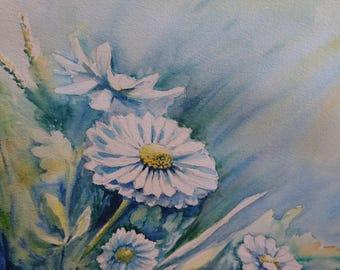 Sunshine Daisies A3, watercolours, Contemporary art littlecl@mail.ru