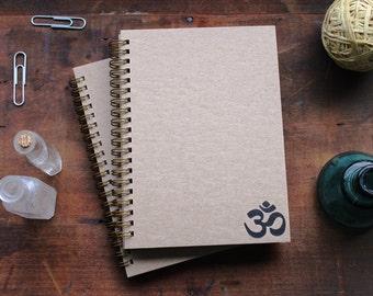 HARD COVER - Om symbol (corner position) - Letter pressed 5.25 x 7.25 inch journal