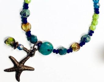Blue Green Beaded Necklace, Summer Boho Wrap Bracelet, Beach Jewelry