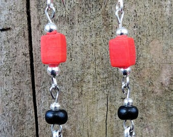 Earrings red and black glass beads