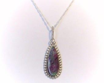 Handmade Pendant: Ruby in Zoisite in Sterling Silver