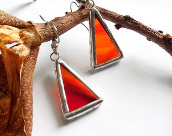 Red Streaky Stained Glass Earrings